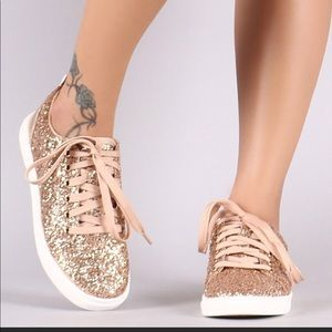 Shoes - LADIES Encrusted Sparkling Glitter Lace Up Sneaker